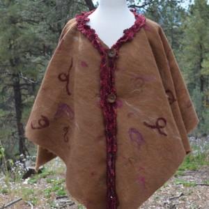 Fawn alpaca felted poncho