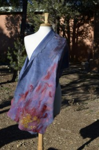 One view of Sunrise Song shawl - alpaca on silk with embellishments